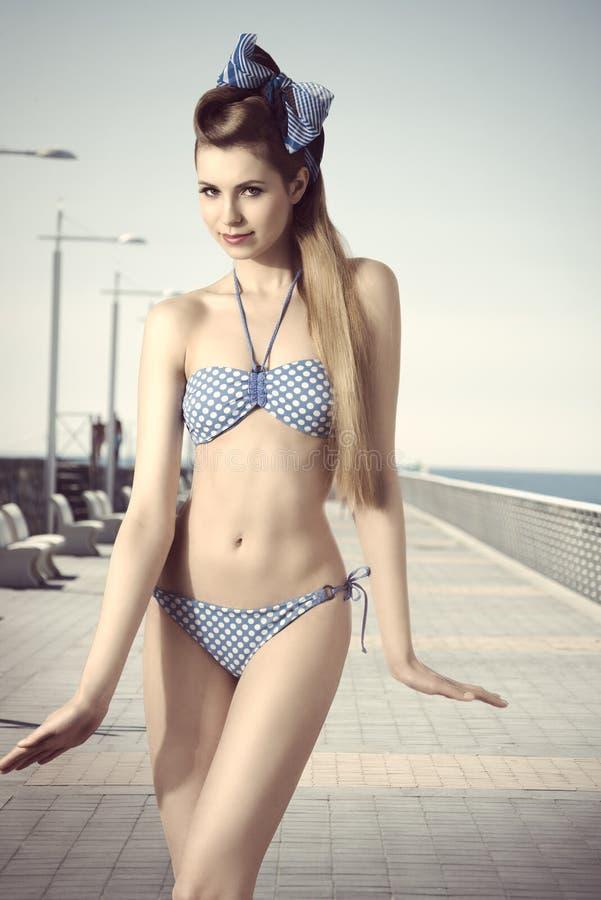 Download Cute woman with bikini stock photo. Image of lady, portrait - 39504520