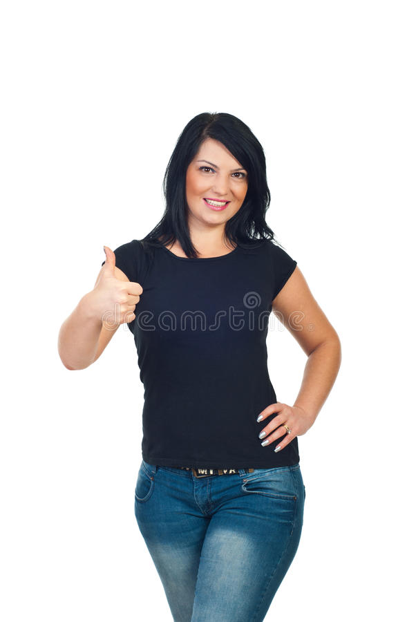 Cute woman in blank t-shirt give thumbs stock photography