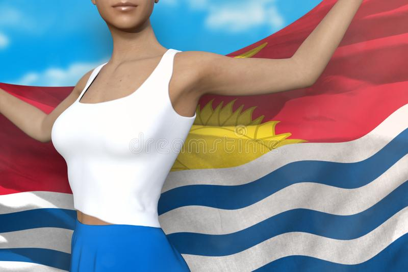 Beautiful lady in bright skirt holds Kiribati flag in hands behind her back on the cloudy sky background - flag concept 3d. Cute woman in bright skirt is holding royalty free illustration