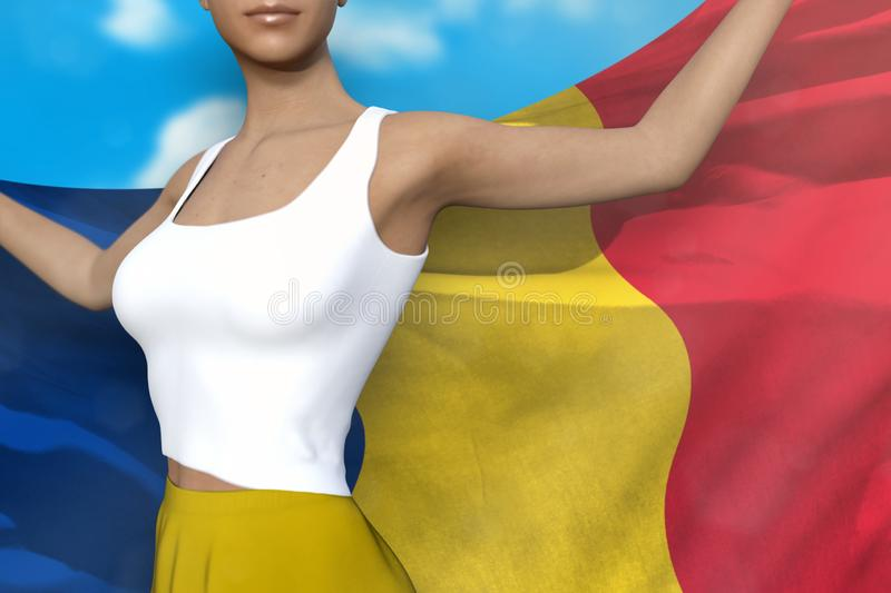 Beautiful lady in bright skirt holds Romania flag in hands behind her back on the cloudy sky background - flag concept 3d. Cute woman in bright skirt is holding vector illustration