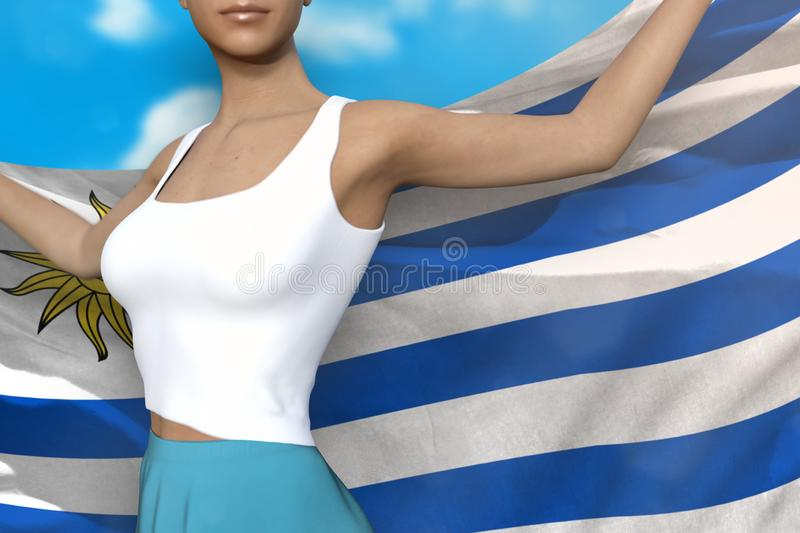 Pretty lady in bright skirt holds Uruguay flag in hands behind her back on the cloudy sky background - flag concept 3d. Cute woman in bright skirt is holding vector illustration