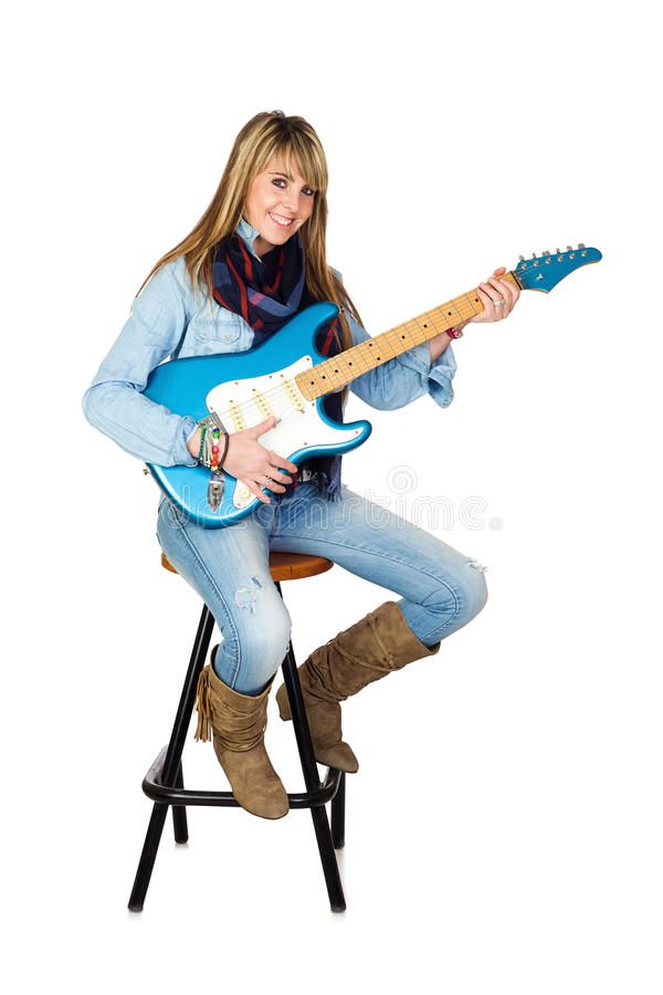 Cute Woman With Electric Guitar Stock Photography