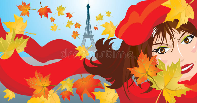 Cute woman face. With red scarf and beret and maple leafs and eiffel on background - autumn paris landscape picture stock illustration
