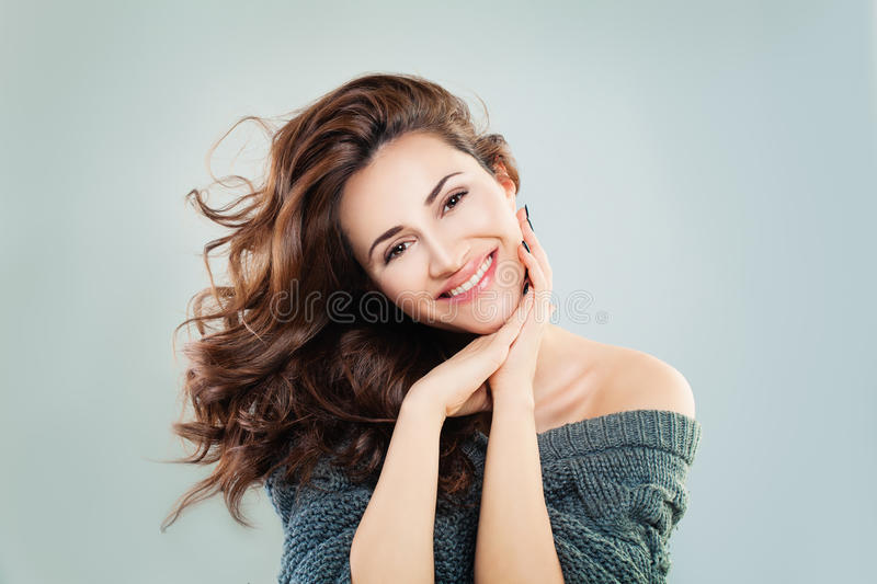 Cute Woman Fashion Model. Happy Beautiful Girl royalty free stock images
