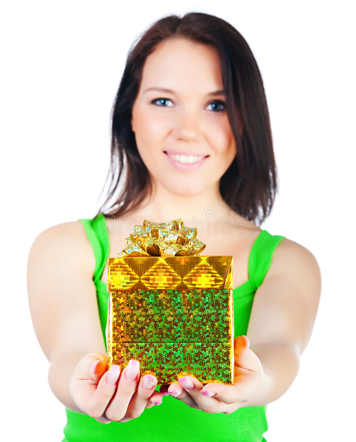Cute woman with a gift royalty free stock photography