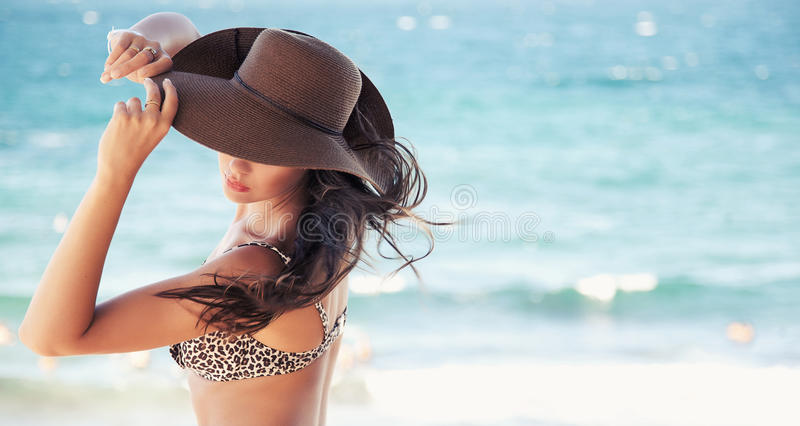 Cute Woman In Hat Stock Images