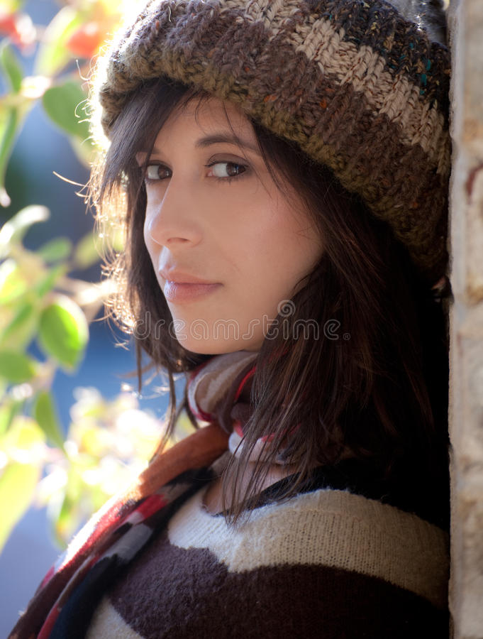 Cute Woman in Hat and Scarf stock image