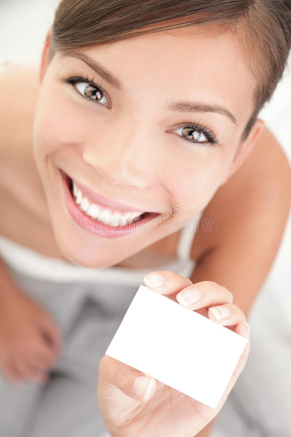 Download Cute Woman Holding Business Card Stock Photo - Image: 14536128