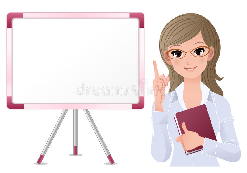 Cute woman lecturring beside white board stock illustration