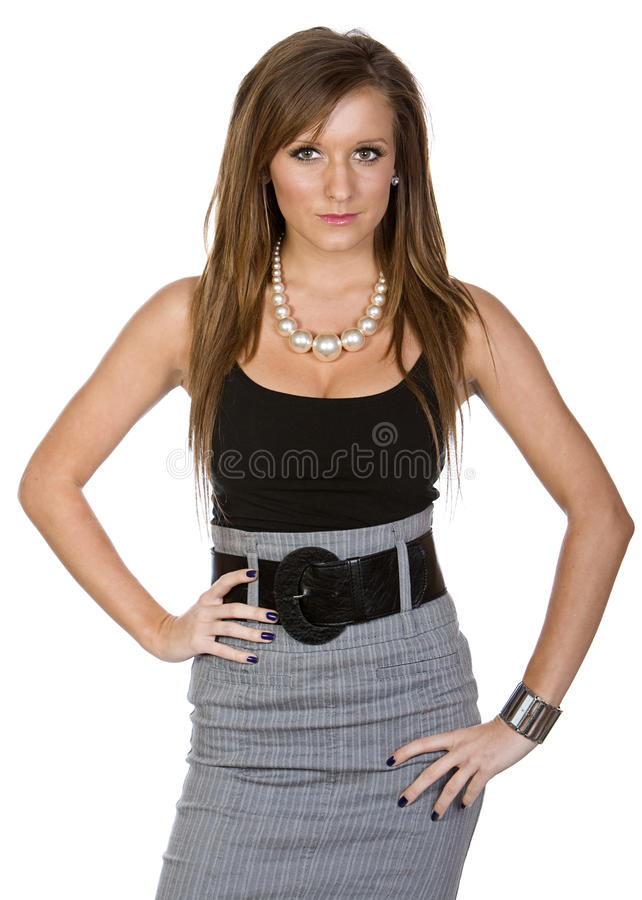 Cute Woman in Office Attire. Shot of a Cute Woman in Office Attire against White Background stock photography
