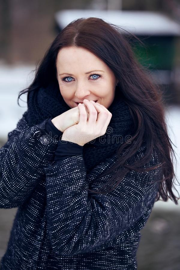 Download Cute Woman Outdoors In A Cold Park Stock Image - Image: 34384441