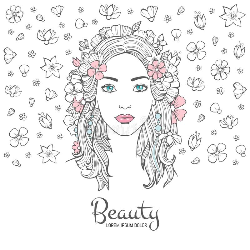 Cute woman portrait. Glamour fashion young beautiful woman flowers in hair and smile face vector background with place royalty free illustration