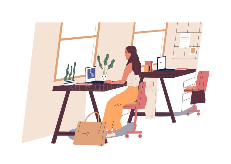 Cute woman sitting at desk and working on laptop computer at office. Young professional or female employee at workplace royalty free illustration