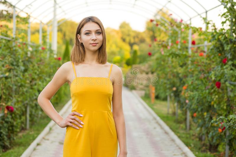 Woman posing in the garden near green bushes with pink roses royalty free stock photography