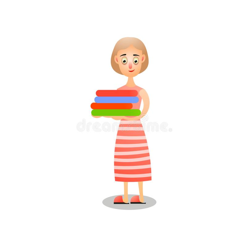 Cute woman in striped red dress, take stack of clean clothes. Cute woman in striped red dress, take stack of home family clean clothes. Cartoon style. Vector vector illustration