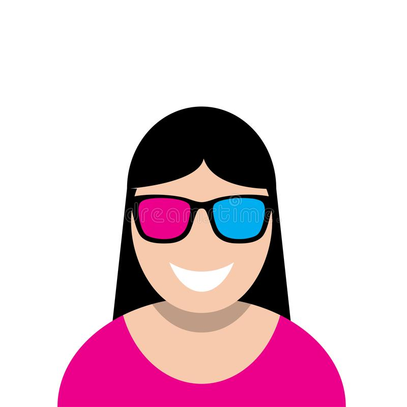 Cute woman using 3d sunglasses royalty free illustration