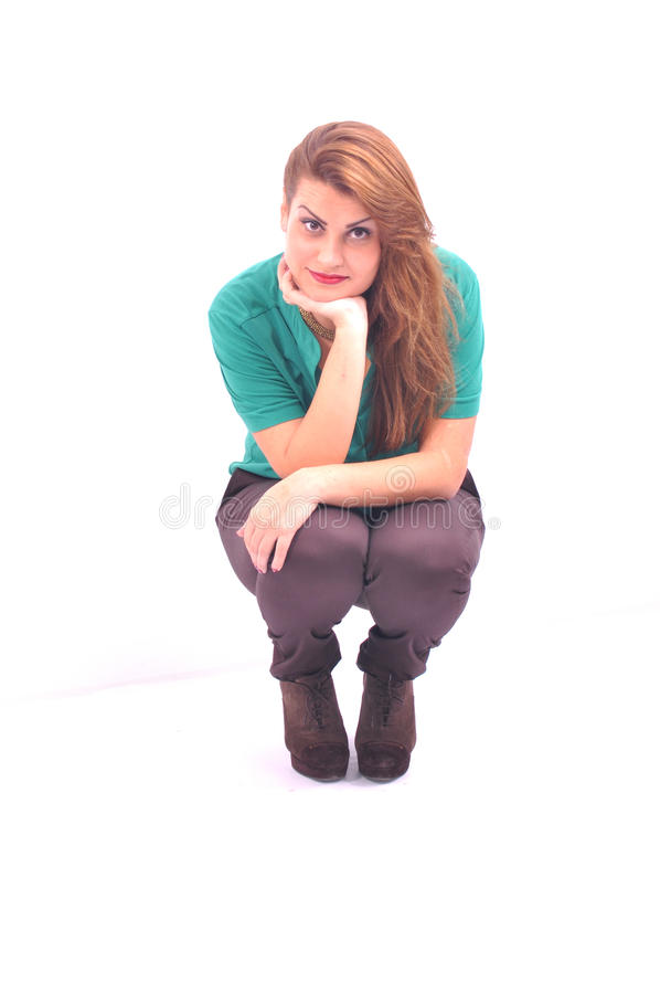 Cute women is squatting royalty free stock photos