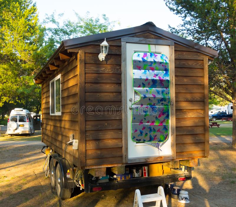 An unusual home-made trailer at a campground in northern canada royalty free stock image