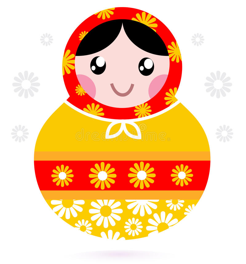 Cute wooden Russian doll