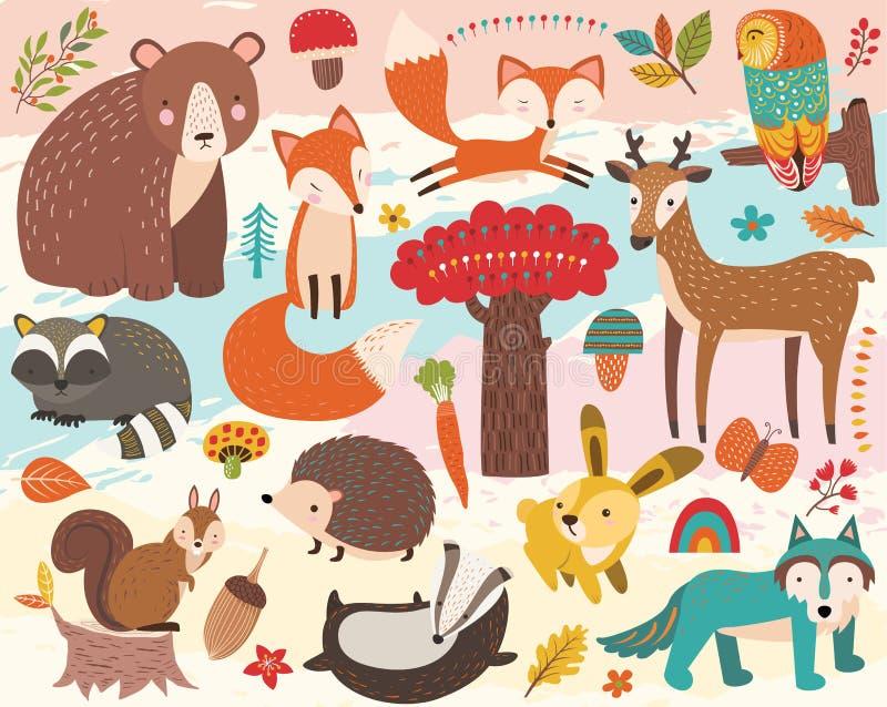 Cute Woodland Animal Element Set royalty free illustration
