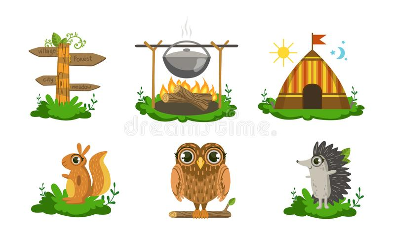 Cute Woodland Animals and Camping Elements Set, Squirrel, Wooden Signpost, Campfire with Cauldron, Tent, Owl, Hedgehog. Vector Illustration on White Background vector illustration