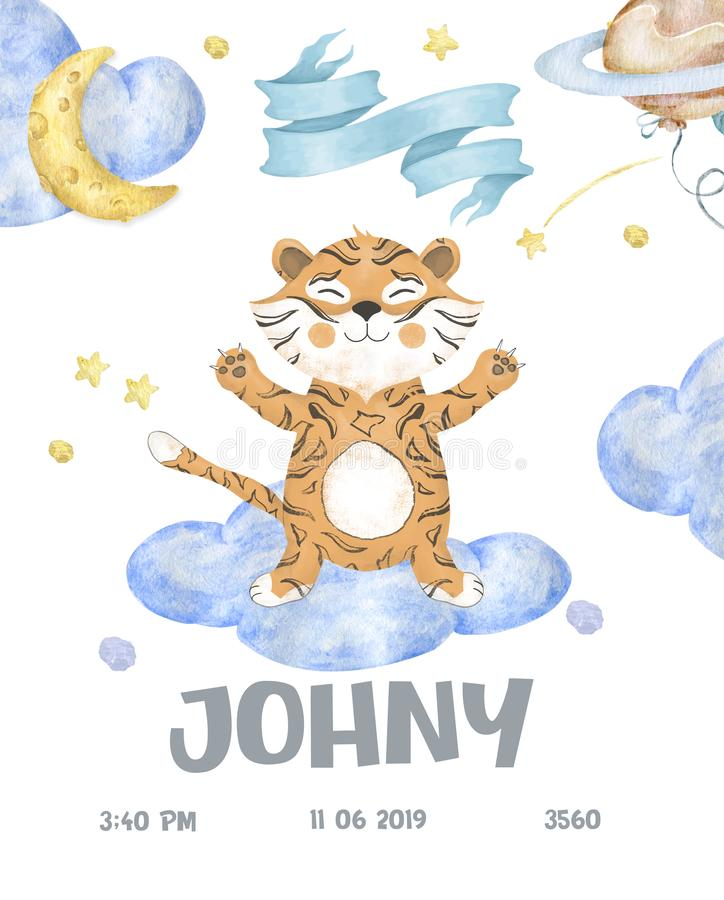 Cute woodland animals cartoon illustration for baby shower card template. Greeting, born, invite design card watercolor stock illustration