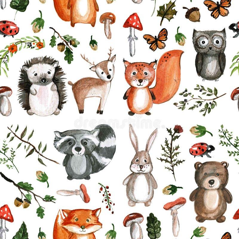 Cute Woodland Animals Watercolor Images Kindergarten Zoo ...
