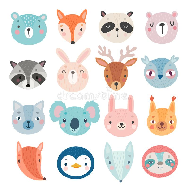 Cute Woodland characters, bear, fox, raccoon, rabbit, squirrel, deer, owl and others. Cute Woodland characters, animail faces. Vector illustration vector illustration