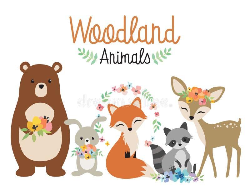 Woodland Forest Animals Vector Illustration. Cute woodland forest animals vector illustration including bear, bunny rabbit, fox, raccoon, and deer royalty free illustration