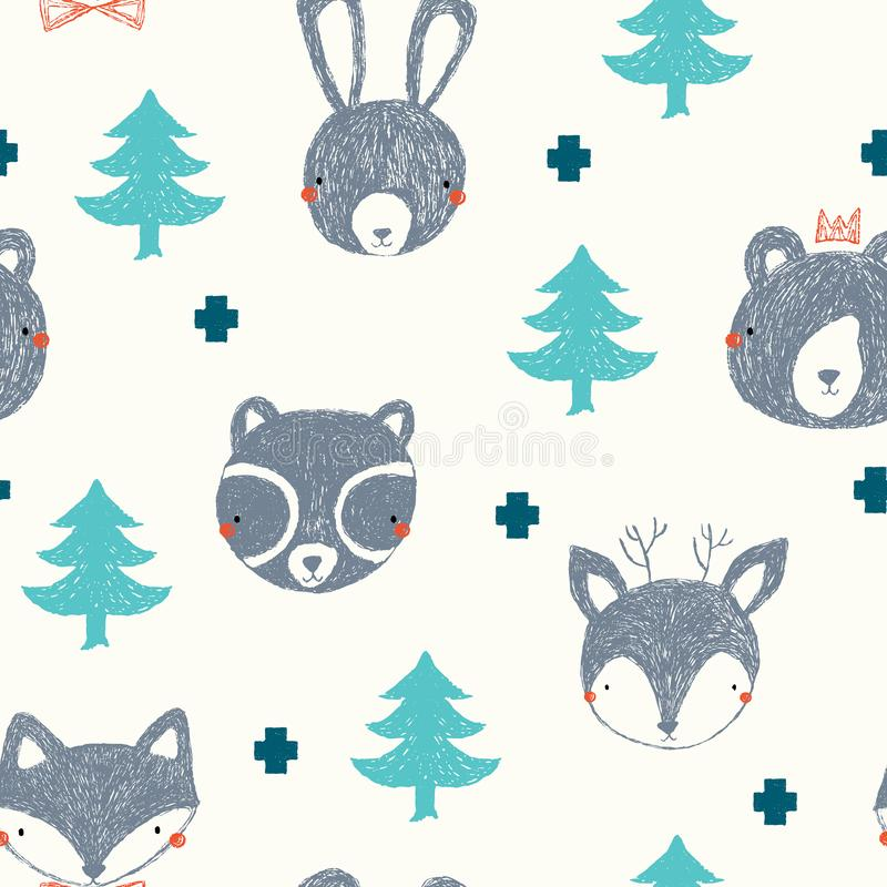 Cute woodland vector pattern, deer, fox, rabbit , bear and raccoon faces with trees on a cream background vector illustration