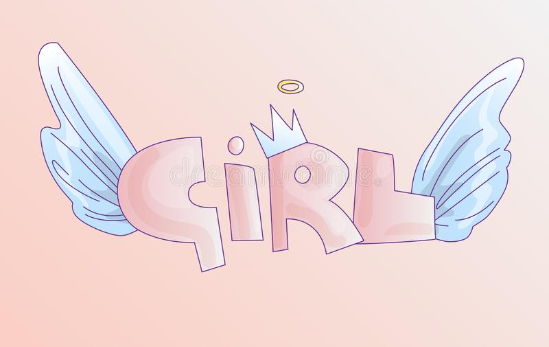 Cute word Girl in soft pastel colors, cartoon Girls word with crown and angel wings. Princess girl with wings, pink word royalty free illustration