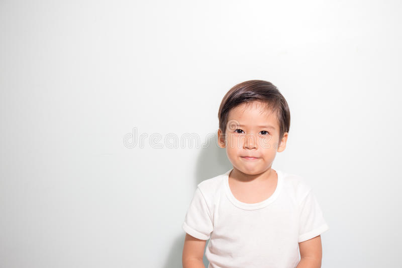Cute 3 years old Asian boy smile isolated on white background royalty free stock photo