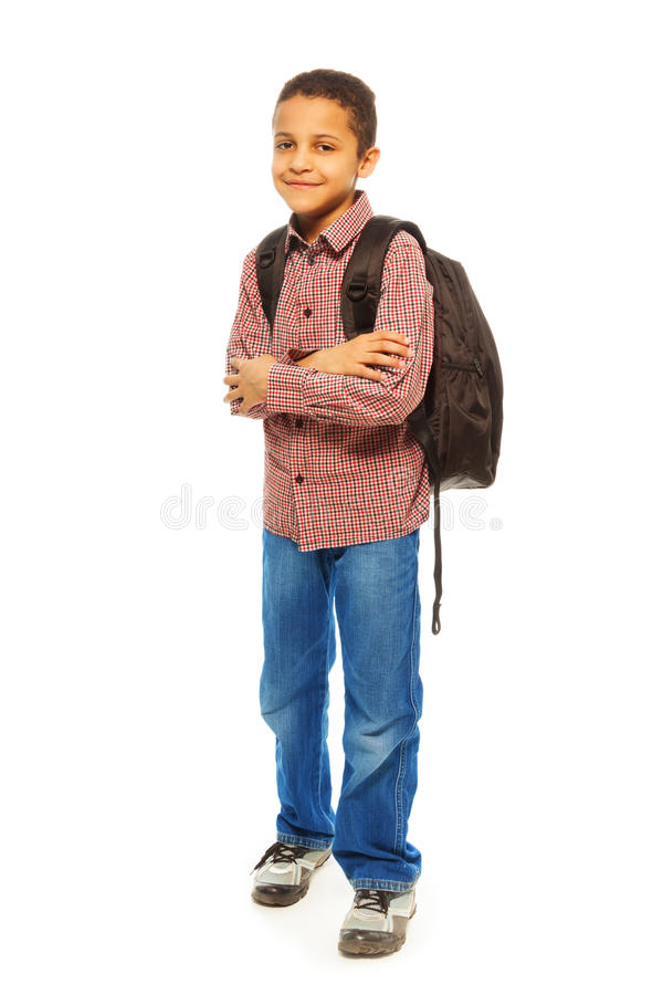 Black schoolboy with backpack royalty free stock photos