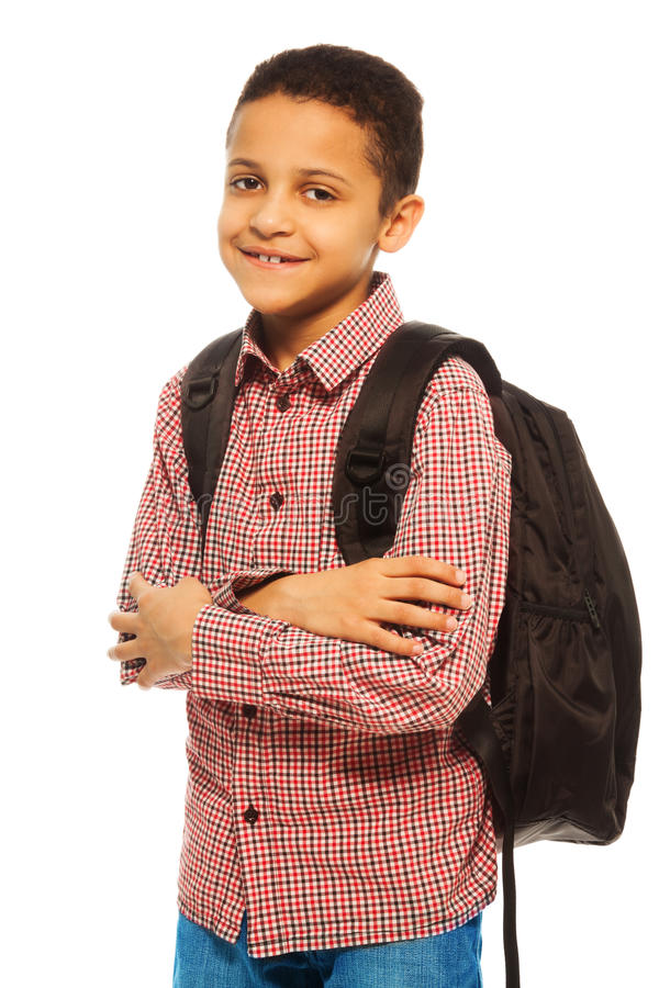 Happy black school boy royalty free stock image