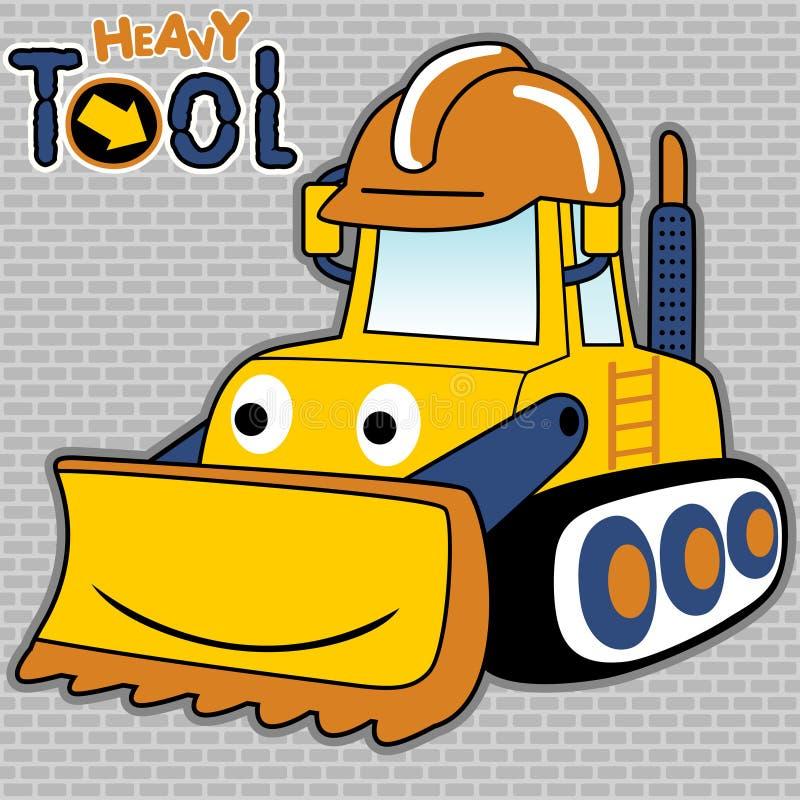 Funny bulldozer cartoon vector with helmet on bricks background stock illustration