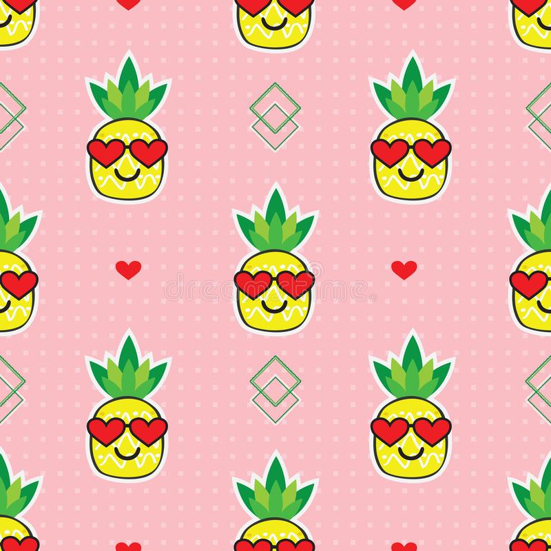 Cute yellow cartoon pineapples emoji with red heart sunglasses on retro pink dotted background pattern stock illustration