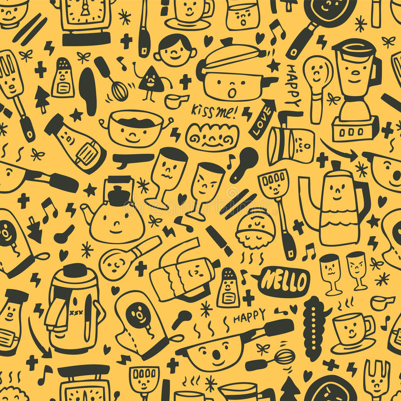 Download Cute Yellow Cartoon Seamless Pattern Stock Vector - Image: 16794311