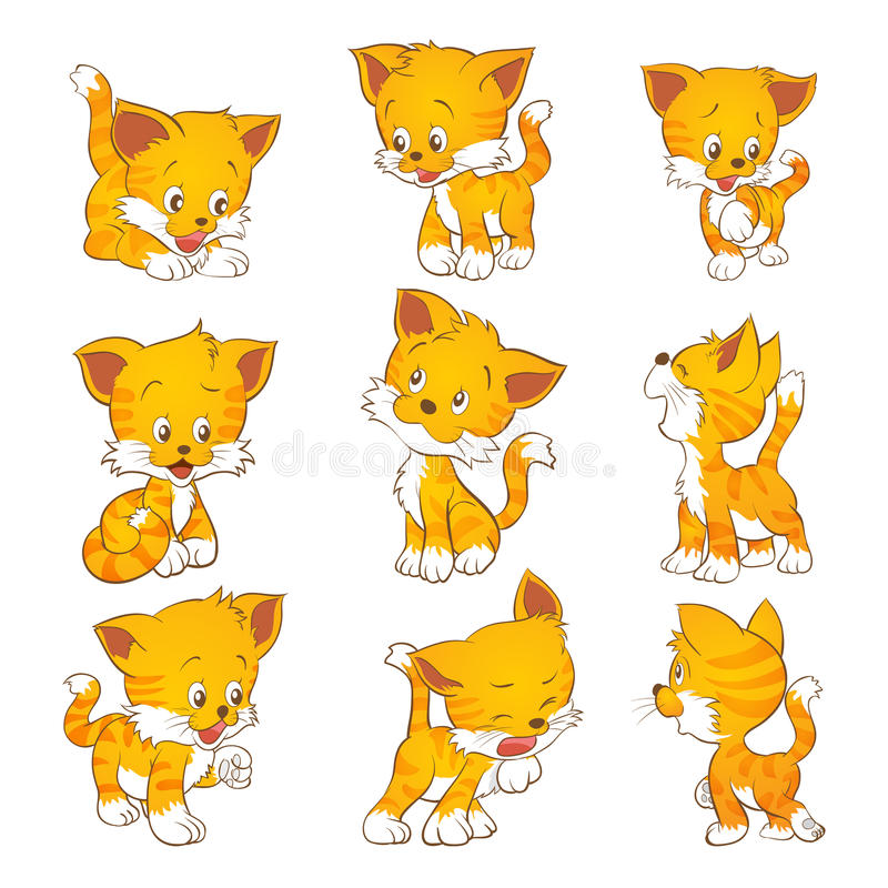 Cute yellow cat vector illustration