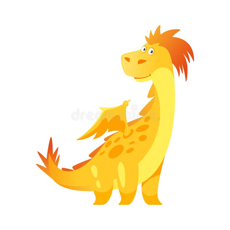 Cute yellow dragon vector illustration