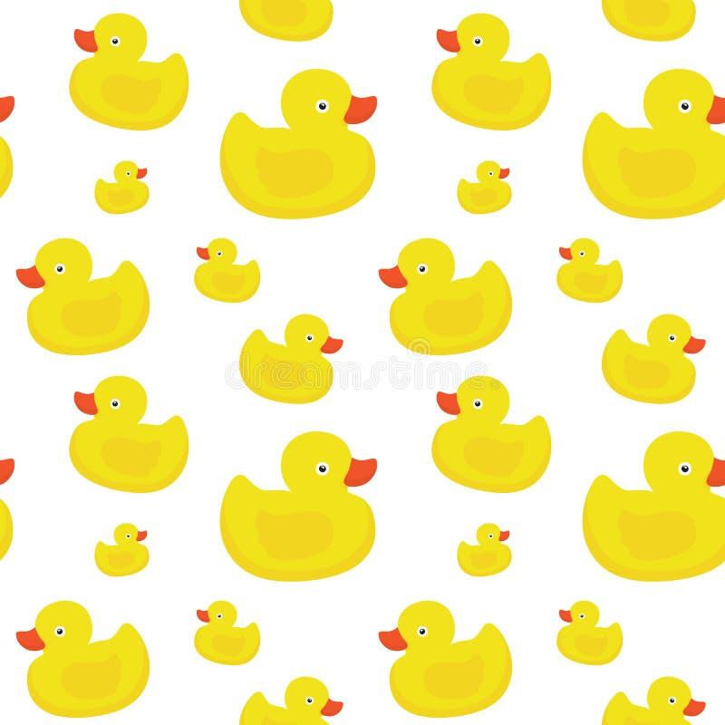 Cute Yellow Ducks Seamless Vector Pattern On White