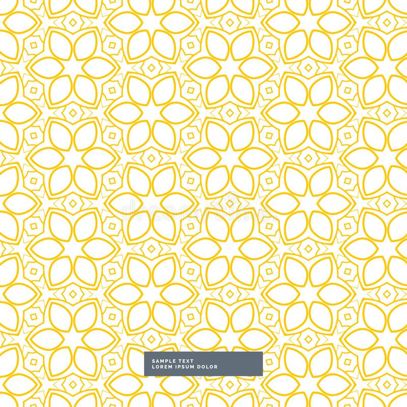 Cute yellow flower pattern on white background royalty free illustration