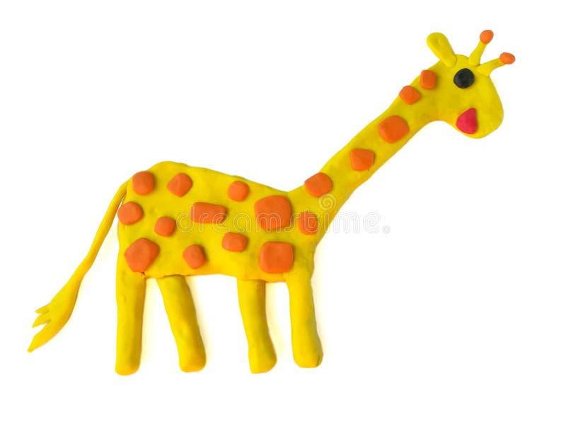 Cute giraffe plasticine, colorful clay, animal dough, white background stock photo