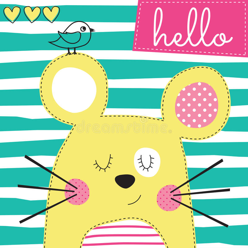 Cute yellow mouse with bird vector illustration royalty free illustration