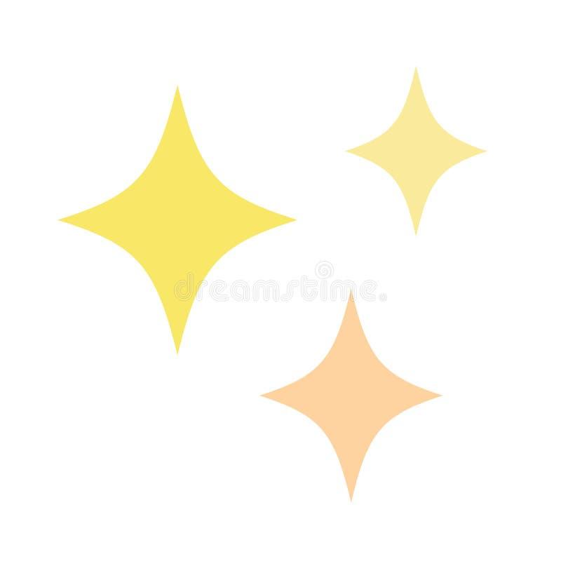 Cute yellow and orange sparkles, shining stars. Cute sparkle stars in yellow and light orange. Vector illustration drawing. Set of three golden glitter stars stock illustration