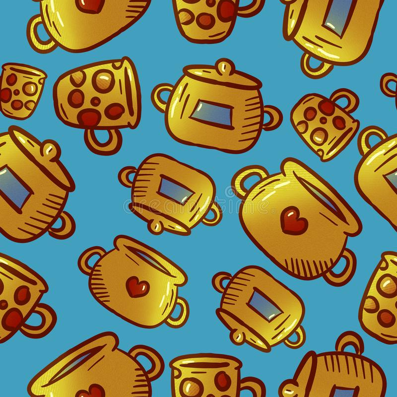 Cute yellow pattern of kitchenware and utensils illustrations. royalty free stock photography