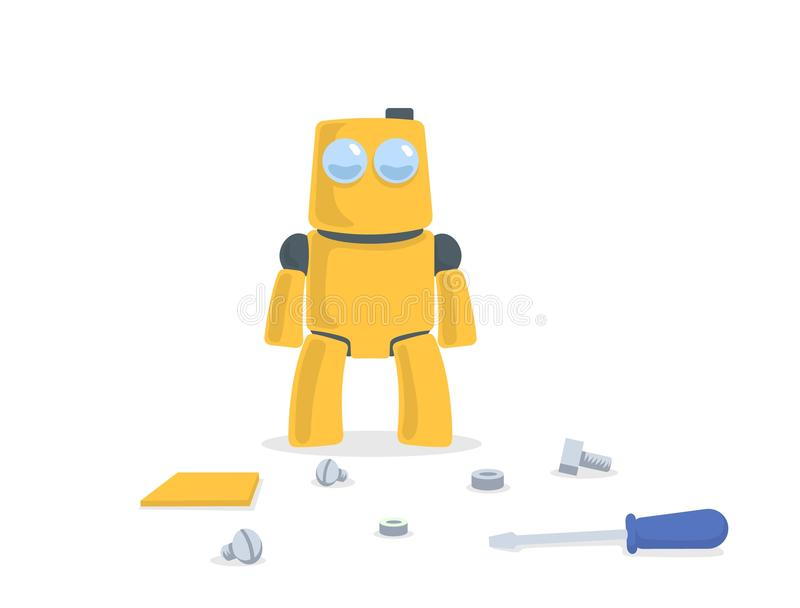 Cute yellow robot standing in front of spare parts and tools. Cartoon character. Flat vector illustration. Isolated on royalty free illustration