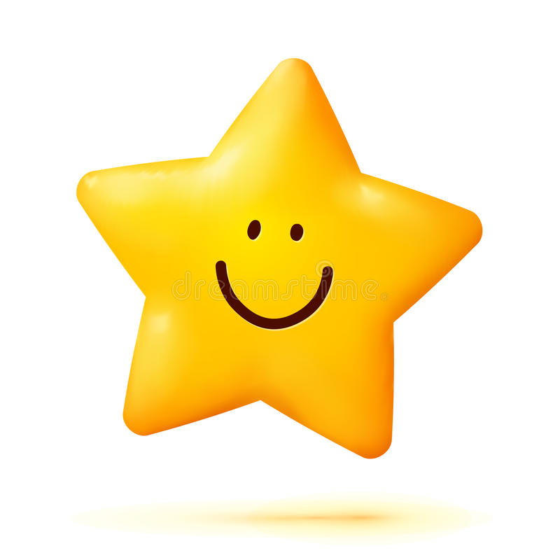 Cute Yellow Smiling Little Star Isolated On White