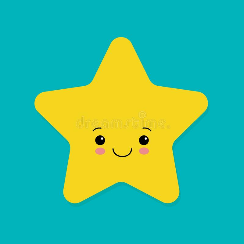Cute yellow smiling vector little star on blue background.  royalty free illustration