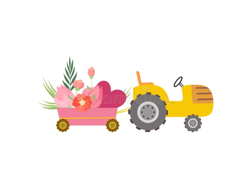 Cute Yellow Tractor with Cart with Hearts and Flowers, Colorful Agricultural Farm Transport Vector Illustration. On White Background stock illustration
