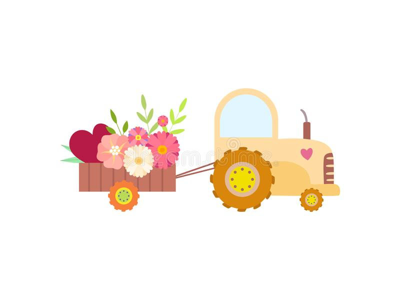 Cute Yellow Tractor with Flowers, Agricultural Farm Transport with Cart Vector Illustration. On White Background stock illustration